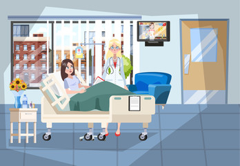 Hospital room interior. Patient lying in the bed