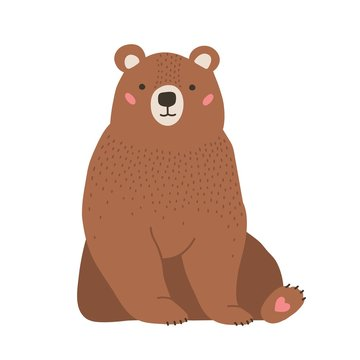 Cute adorable little brown bear. Funny lovely forest carnivorous animals isolated on white background. Amusing spring character. Bright colored childish vector illustration in flat cartoon style.