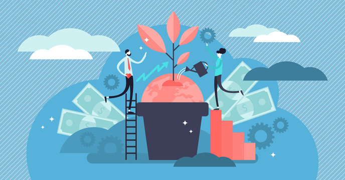 Business social responsibility illustration. Flat tiny ethic person concept