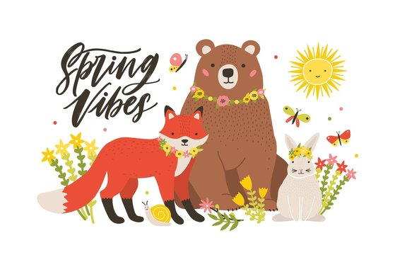 Seasonal card template with cute forest animals surrounded by blooming flowers and butterflies and Spring Vibes lettering handwritten with cursive font