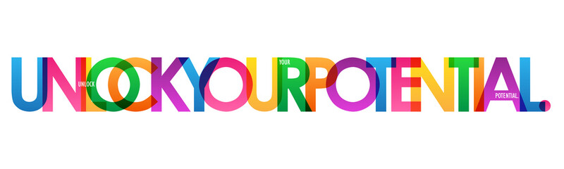 UNLOCK YOUR POTENTIAL. colorful typography banner