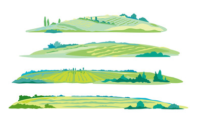 Set of four green agricultural fields, hills and meadows, summer countryside with green hills, rural landscape, agricultural land with crops and vineyards in simple colors stylization isolated Fotomurales