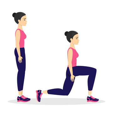 Woman making lunges. Doing sport exercises in gym