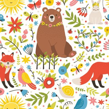 Childish seamless pattern with adorable animals, birds, blooming spring meadow flowers on white background