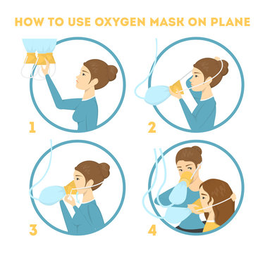 How to use oxygen mask on the plane in emergency case