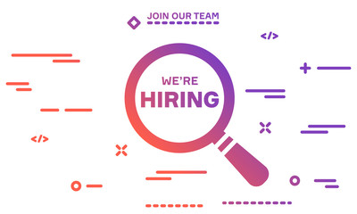 Join our team and We are hiring with magnifying glass on white background.
