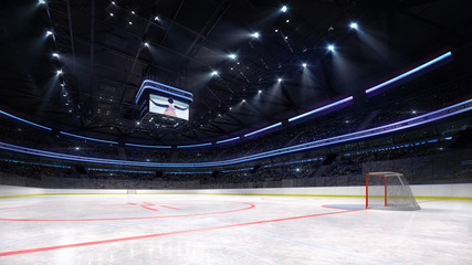 empty ice hockey arena inside playground view illuminated by spotlights, hockey and skating stadium indoor 3D render illustration background, my own design.