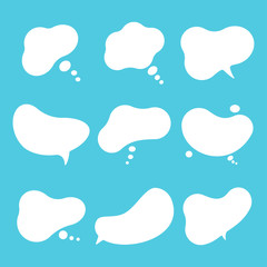 Speech bubble vector cartoon comics dialogue cloud set isolated on a blue background.