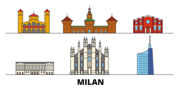 Italy, Milan flat landmarks vector illustration. Italy, Milan line city with famous travel sights, design skyline.