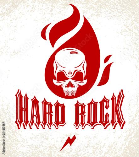Skull in a flames Hard Rock music vector logo or emblem, aggressive