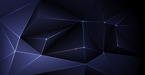 Vector low polygon silver, black premium background. Abstract luxury polygonal and silver, gold dark blue triangle line design for the cover, wallpaper. Illustration low poly pattern, gradient color
