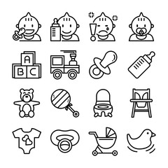 baby item vector outline icon set