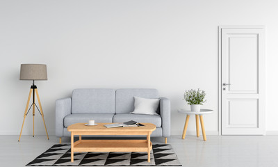 Gray sofa and wood table in white living room, 3D rendering