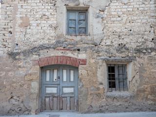 Facade of a house in a village of Castilla y Leon, Cobos de Cerrato Spain