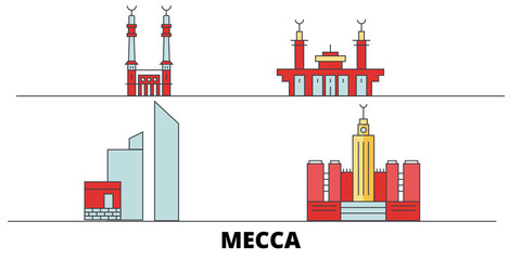 Saudi Arabia, Mecca flat landmarks vector illustration. Saudi Arabia, Mecca line city with famous travel sights, design skyline.