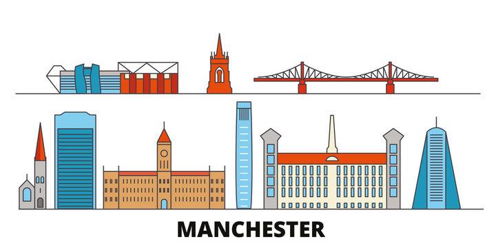 United Kingdom, Manchester flat landmarks vector illustration. United Kingdom, Manchester line city with famous travel sights, design skyline.