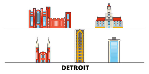 United States, Detroit flat landmarks vector illustration. United States, Detroit line city with famous travel sights, design skyline.
