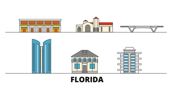 United States, Fort Lauderdale flat landmarks vector illustration. United States, Fort Lauderdale line city with famous travel sights, design skyline.