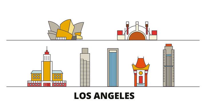 United States, Los Angeles flat landmarks vector illustration. United States, Los Angeles line city with famous travel sights, design skyline.