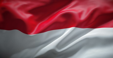 Flag of Indonesia waving in the wind.