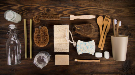 Zero waste food and other cleaning tools. Sustainable lifestyle concept. plastic free items made of natural materials.