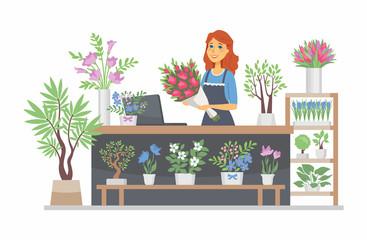 Obraz Flower shop - modern vector cartoon people characters illustration - fototapety do salonu