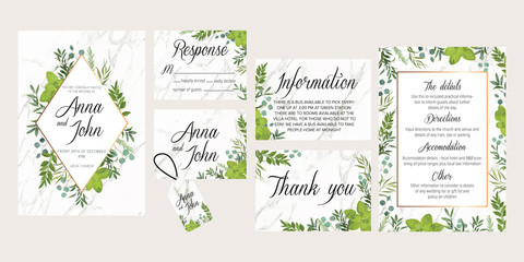 Wedding floral invite, details, rsvp, thank you label save the date card: rosemary, eucalyptus branches wreath on white marble texture with a golden geometric pattern. All elements are isolated
