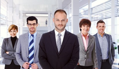 Group portrait of successful business team