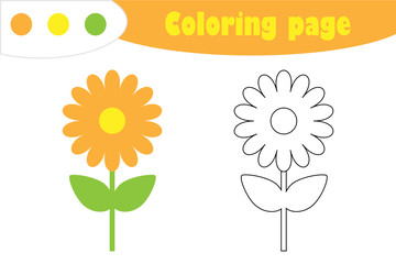 Flower in cartoon style, coloring page, spring education paper game for the development of children, kids preschool activity, printable worksheet, vector illustration