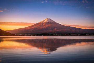 Aluminium Prints Autumn Landscape image of Mt. Fuji over Lake Kawaguchiko at sunrise in Fujikawaguchiko, Japan.