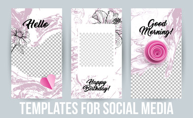 Insta Stories Creative Modern Photo Frames Pack. Design templates for Social Media Presentations, Branding Content. Vertical Banners for Sale or Gift. Vector Illustrations with Acrylic Paintings
