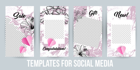 Instagram Stories Creative Modern Photo Frames Pack. Design templates for Social Media Presentations, Branding. Vertical Banners for Sale or Gift. Vector Illustrations with Acrylic Paintings