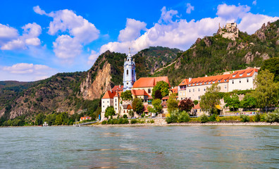 The medieval town of Dürnstein along the Danube River in the picturesque Wachau Valley, a UNESCO World Heritage Site, in Lower Austria Wall mural