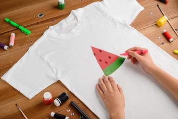Drawing watermelon slice on t-shirt