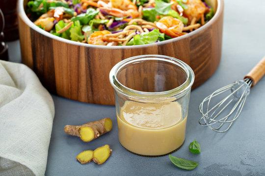 Ginger peanut asian salad dressing with a shrimp salad