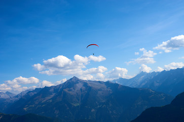 "Paraglider in the Alps of Tux in Austria / On the Mountain ""Schwendberg"""