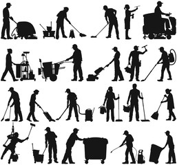 Cleaning service janitor workers vector silhouette collection