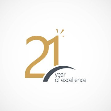21 Year of Excellence Vector Template Design Illustration