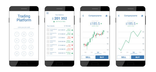 Trading mobile interface for stock exchange. Different screens. Modern design. Vector illustration
