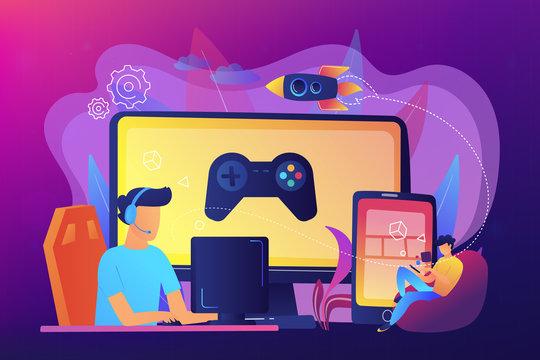 Cross-platform play concept vector illustration.