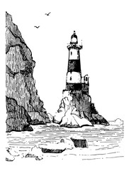 Sea landscape with a lighthouse. Sea hand drawn sketch illustration. Poster for a children's room. Beacon Aniva Russia.