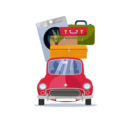 Moving home concept. Red vintage car with suitcases, washing machine and plant on roof. Flat cartoon vector illustration. Car Front View With pile Of furniture on white background. Moving to new house