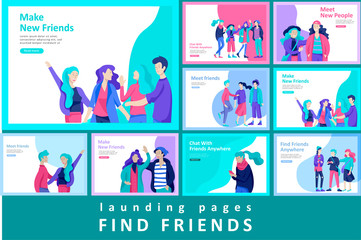 Vector people happy friends character. Group of teenagers in winter or autumn trendy clother, with gadgets are walking and chatting. Colorful flat concept illustration.