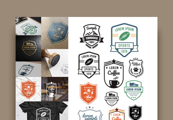 6 Retro Badge Layouts with Icons