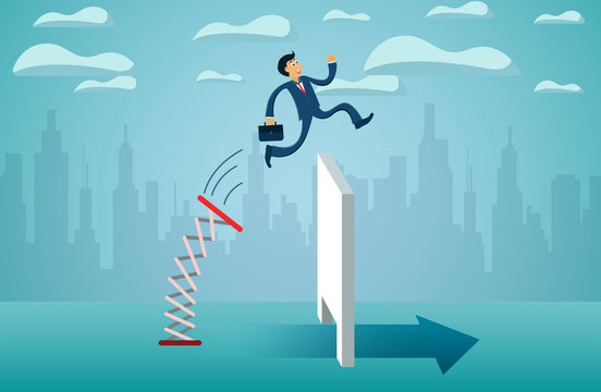 business finance concept. Businessmen jumping from springboard Across the wall go to success goal. creative idea. illustration cartoon vector