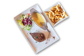 White background and plate with grilled steak