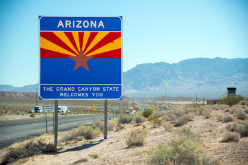 Wall Murals Arizona Welcome to Arizona road sign along State Route, USA