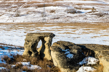 Strange rock formations spring up everywhere in Rockyview County, Alberta, Canada