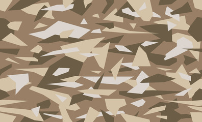 Geometric camouflage vector. Military camo seamless pattern. New soldier's uniform. Background in sand and brown color.