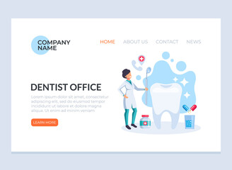 Dentist woman character worker checking patient tooth. Oral hygiene stomatology medicine flat cartoon graphic design banner poster web page concept